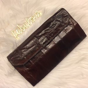 Handbags - Eel skin leather brown wallet
